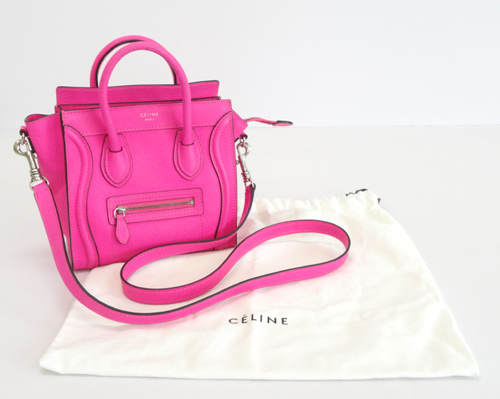 72ddafc1d533 SOLD OUT 【中古】《美品》CELINE セリーヌ 「ラゲージ ナノ ショッパー」 ピンク ハンド